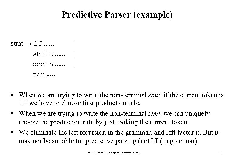 Predictive Parser (example) stmt if. . . while. . . begin. . . for.