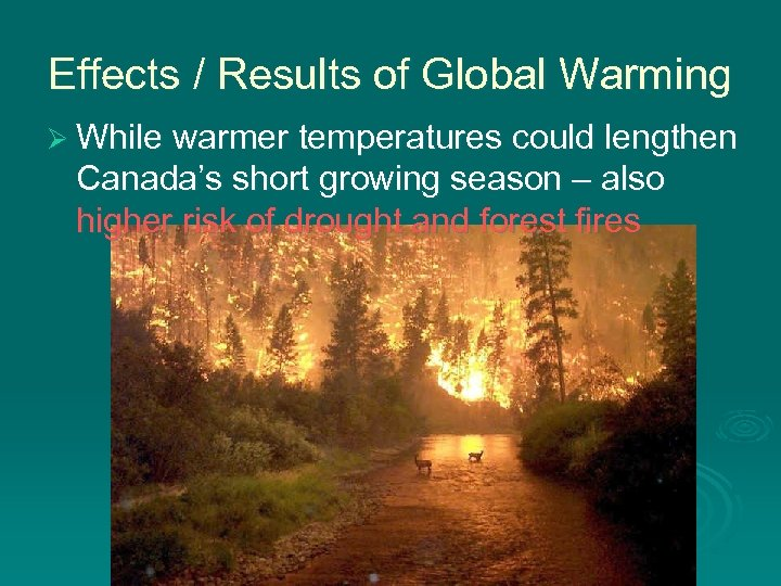 Effects / Results of Global Warming Ø While warmer temperatures could lengthen Canada's short