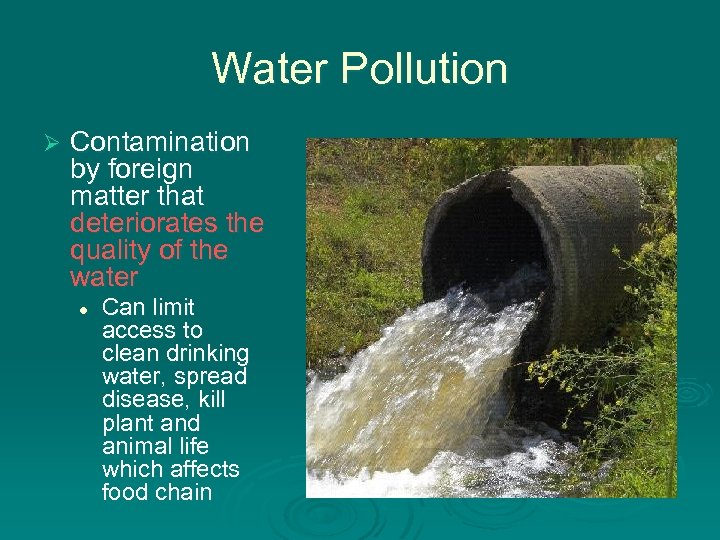 Water Pollution Ø Contamination by foreign matter that deteriorates the quality of the water