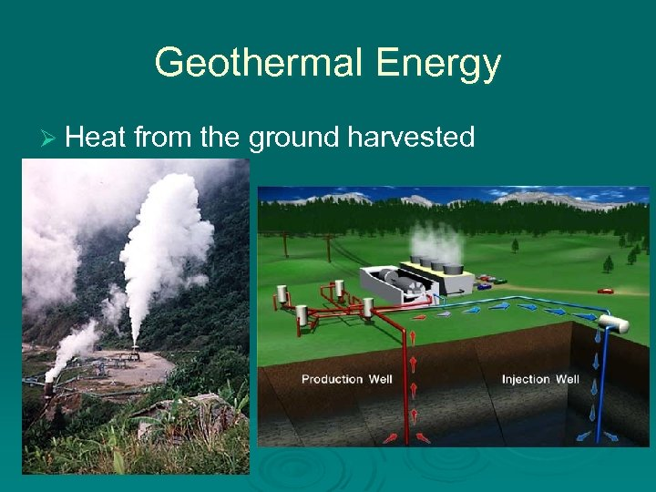 Geothermal Energy Ø Heat from the ground harvested