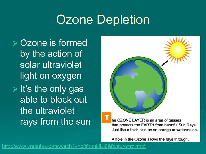 Ozone Depletion Ø Ozone is formed by the action of solar ultraviolet light on