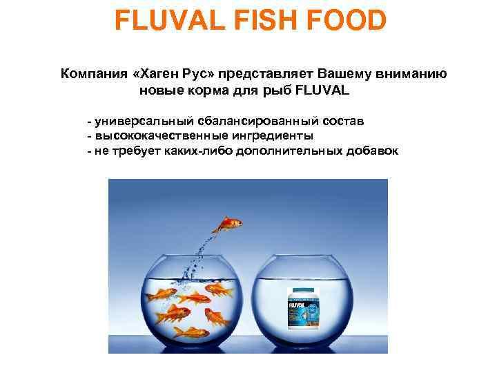FLUVAL FISH FOOD Компания «Хаген Рус» представляет Вашему вниманию новые корма для рыб FLUVAL