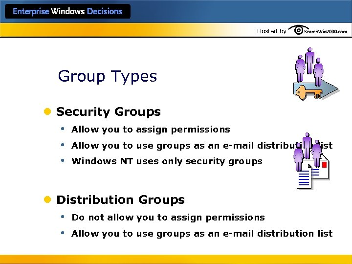 Hosted by Group Types l Security Groups • Allow you to assign permissions •
