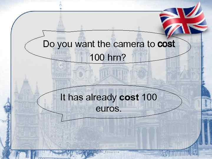 Do you want the camera to cost 100 hrn? It has already cost 100