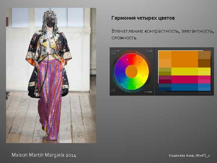Гармония четырех цветов Впечатление: контрастность, элегантность, сложность Maison Martin Margiela 2014 Кошелева Анна, ИКи.