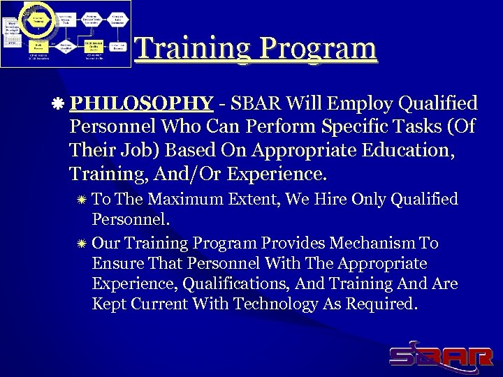 Training Program ä PHILOSOPHY - SBAR Will Employ Qualified Personnel Who Can Perform Specific