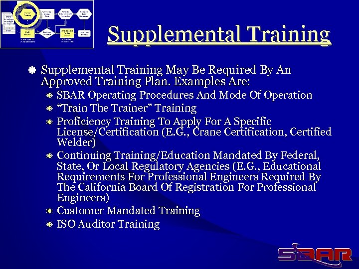 Supplemental Training ä Supplemental Training May Be Required By An Approved Training Plan. Examples
