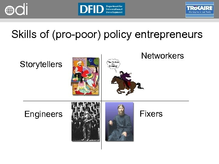 RAPID Programme Skills of (pro poor) policy entrepreneurs Storytellers Engineers Networkers Fixers