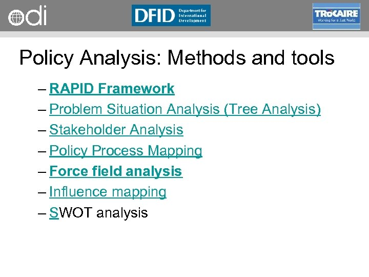 RAPID Programme Policy Analysis: Methods and tools – RAPID Framework – Problem Situation Analysis