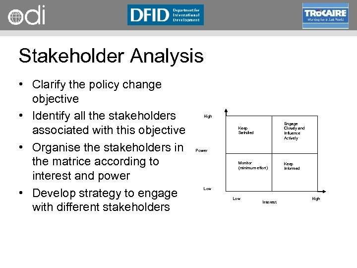 RAPID Programme Stakeholder Analysis • Clarify the policy change objective • Identify all the