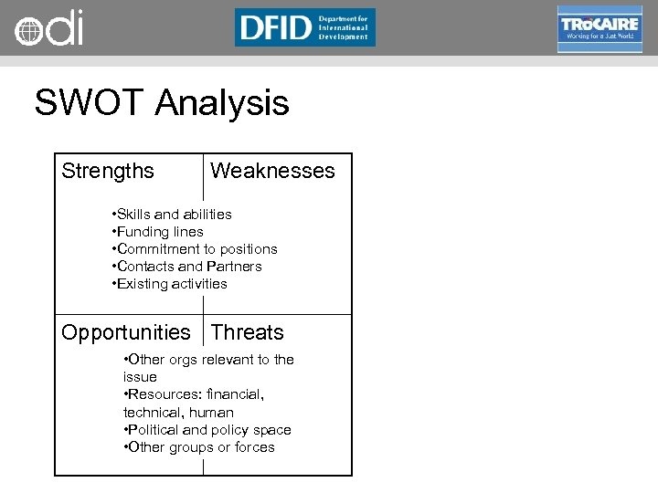 RAPID Programme SWOT Analysis Strengths Weaknesses • Skills and abilities • Funding lines •