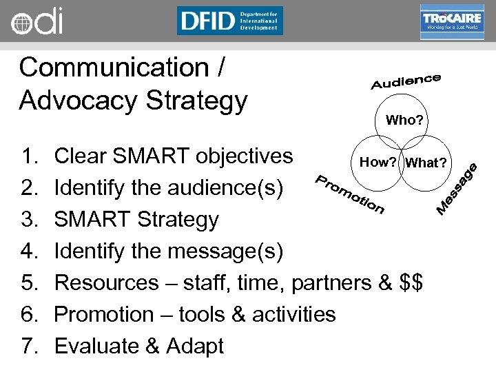 RAPID Programme Communication / Advocacy Strategy 1. 2. 3. 4. 5. 6. 7. Who?