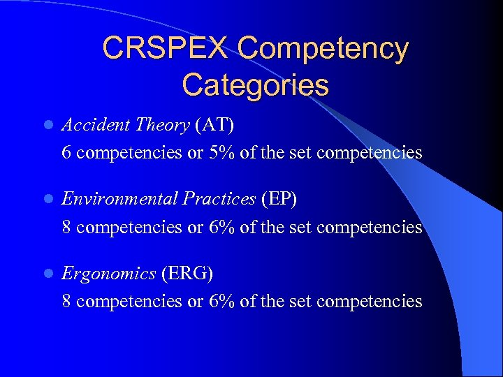 CRSPEX Competency Categories l Accident Theory (AT) 6 competencies or 5% of the set