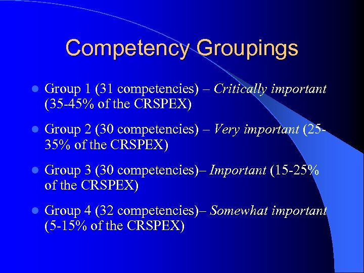 Competency Groupings l Group 1 (31 competencies) – Critically important (35 -45% of the