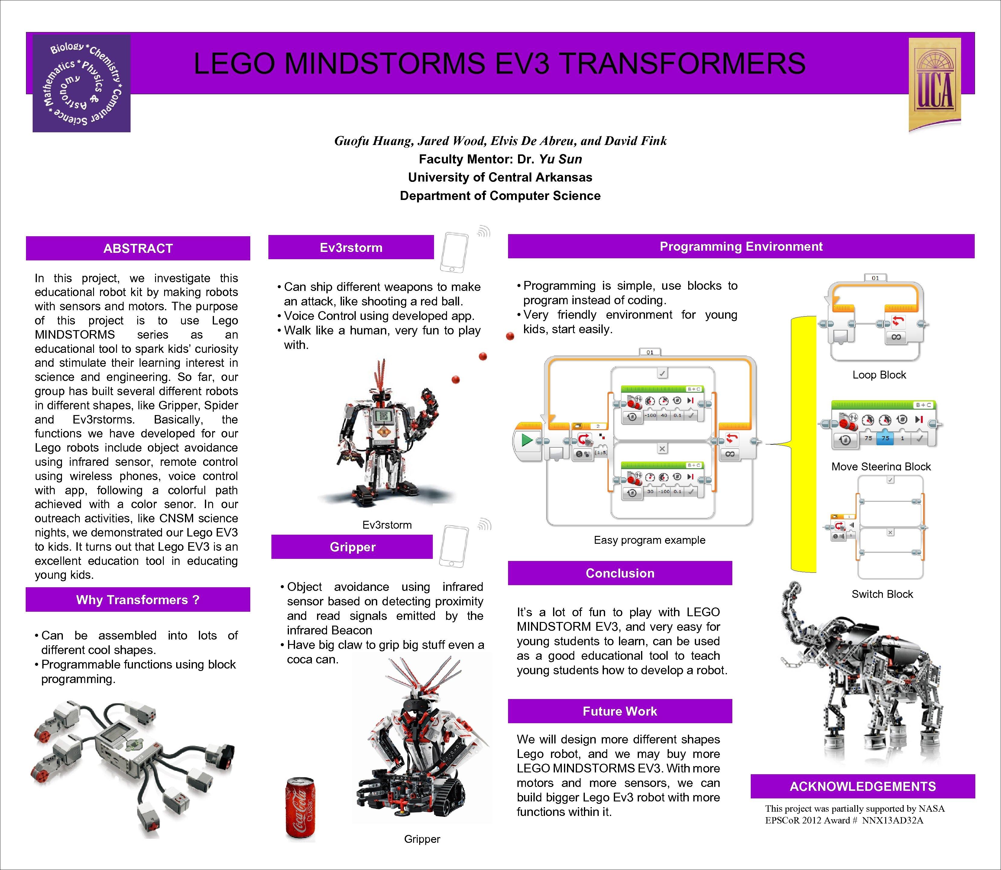 LEGO MINDSTORMS EV 3 TRANSFORMERS Guofu Huang, Jared Wood, Elvis De Abreu, and David