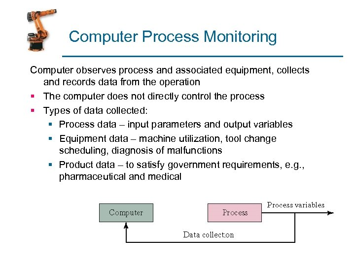 Computer Process Monitoring Computer observes process and associated equipment, collects and records data from