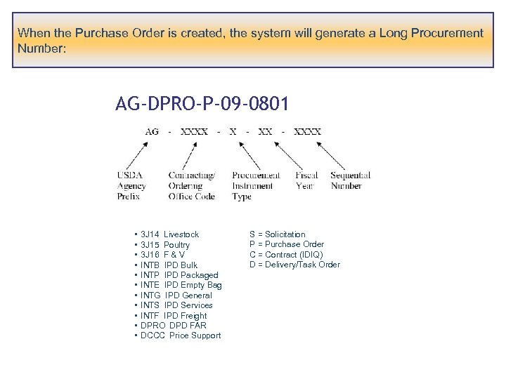 When the Purchase Order is created, the system will generate a Long Procurement Number: