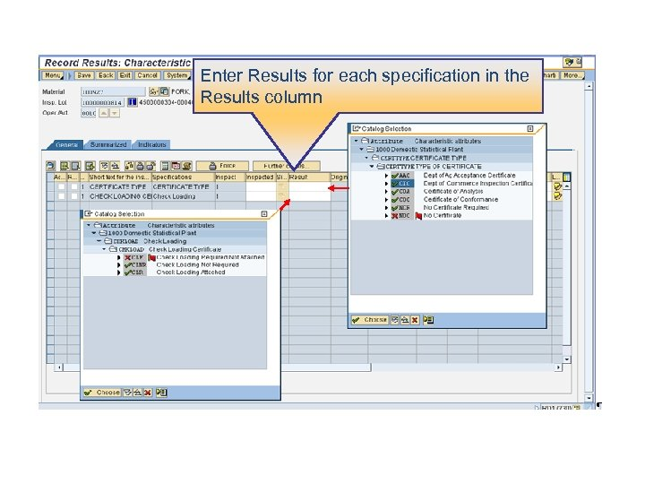 Enter Results for each specification in the Results column
