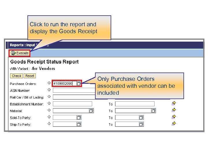 Click to run the report and display the Goods Receipt Only Purchase Orders associated