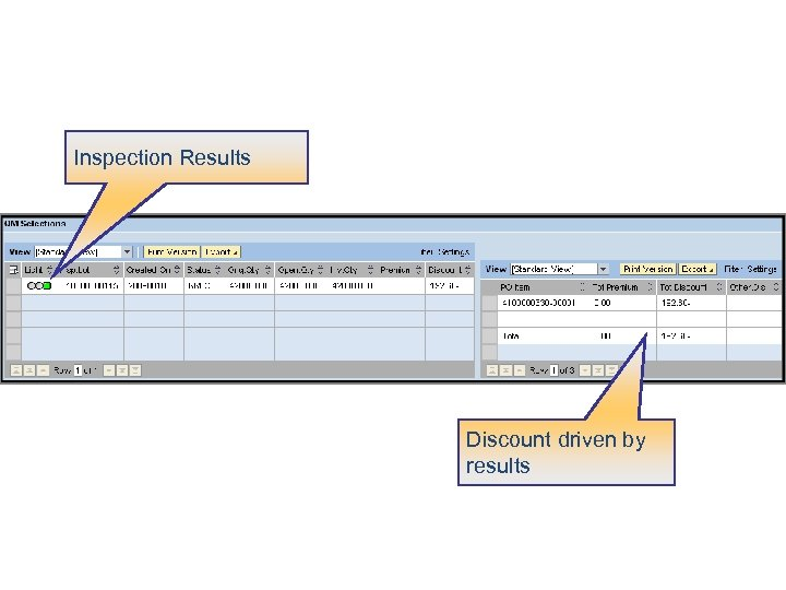 Inspection Results Discount driven by results