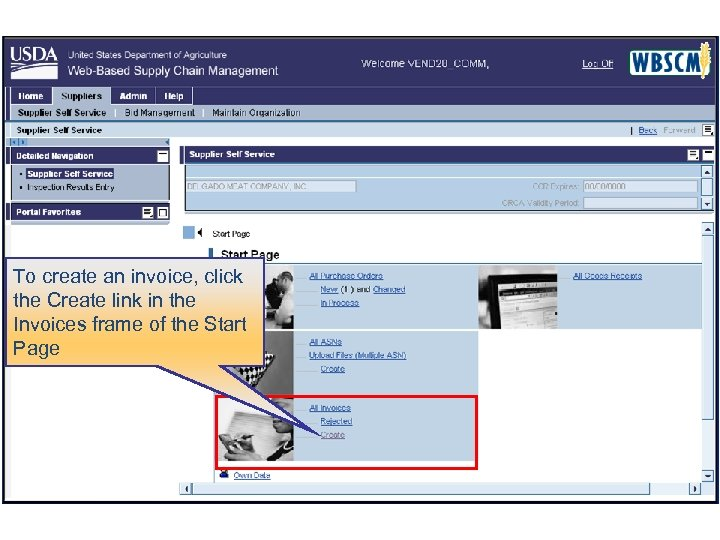 To create an invoice, click the Create link in the Invoices frame of the