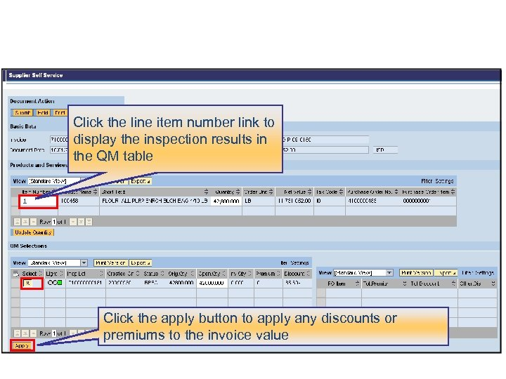Click the line item number link to display the inspection results in the QM