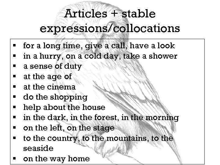 Articles + stable expressions/collocations for a long time, give a call, have a look