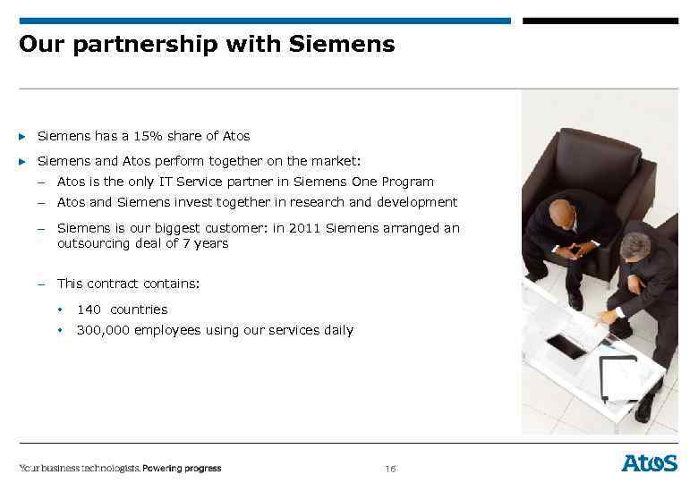 Our partnership with Siemens ▶ Siemens has a 15% share of Atos ▶ Siemens
