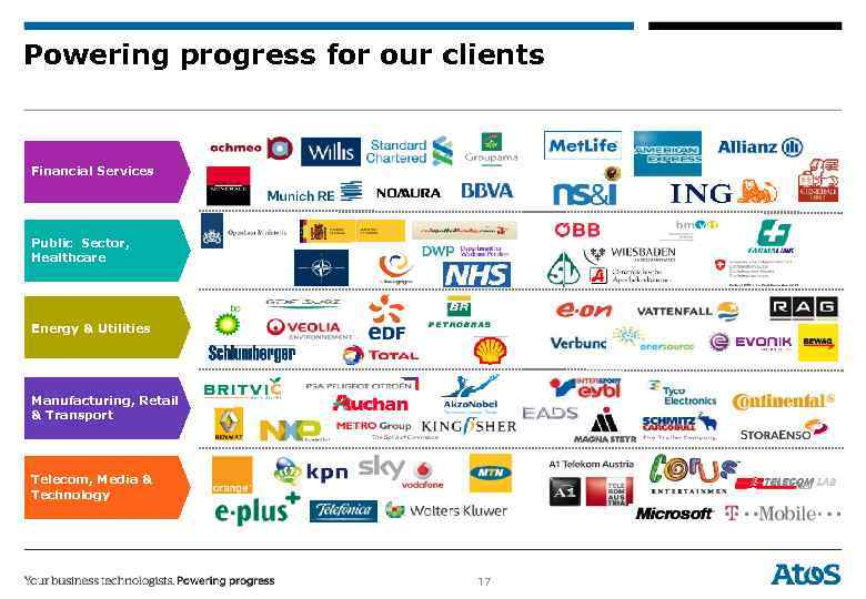 Powering progress for our clients Financial Services Public Sector, Healthcare Energy & Utilities Manufacturing,