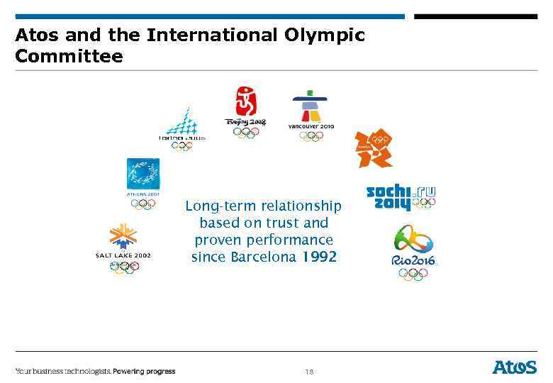 Atos and the International Olympic Committee Long-term relationship based on trust and proven performance