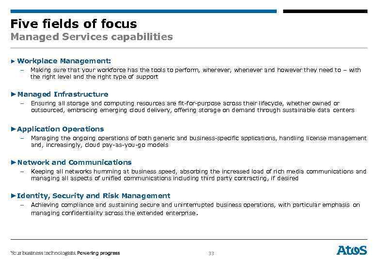Five fields of focus Managed Services capabilities ▶ Workplace Management: – Making sure that