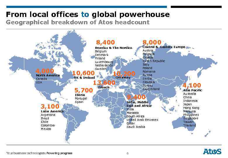 From local offices to global powerhouse Geographical breakdown of Atos headcount 8, 400 4,