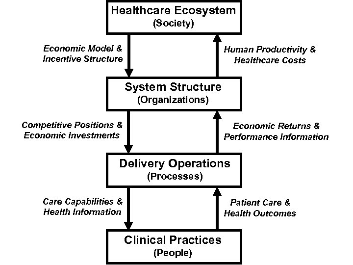 Healthcare Ecosystem (Society) Economic Model & Incentive Structure Human Productivity & Healthcare Costs System
