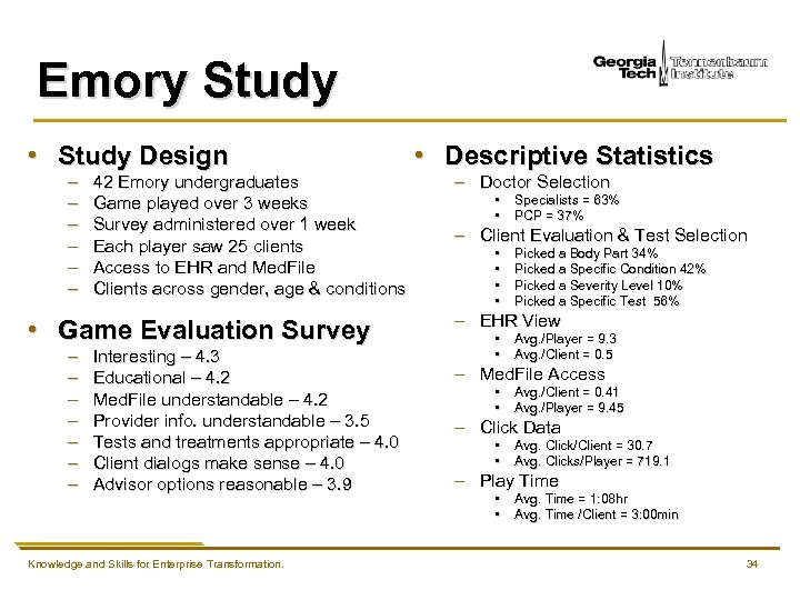 Emory Study • Study Design – – – 42 Emory undergraduates Game played over