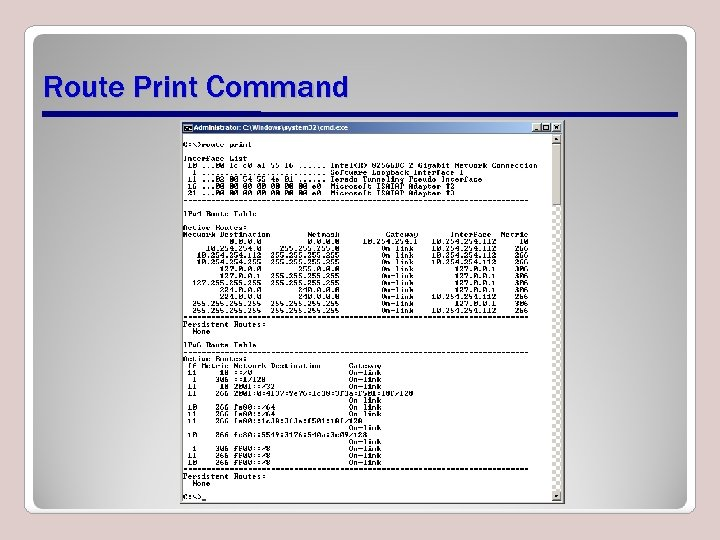 Route Print Command
