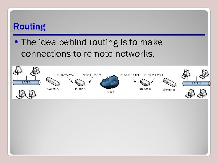 Routing • The idea behind routing is to make connections to remote networks.