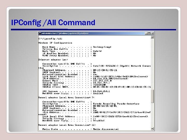 IPConfig /All Command