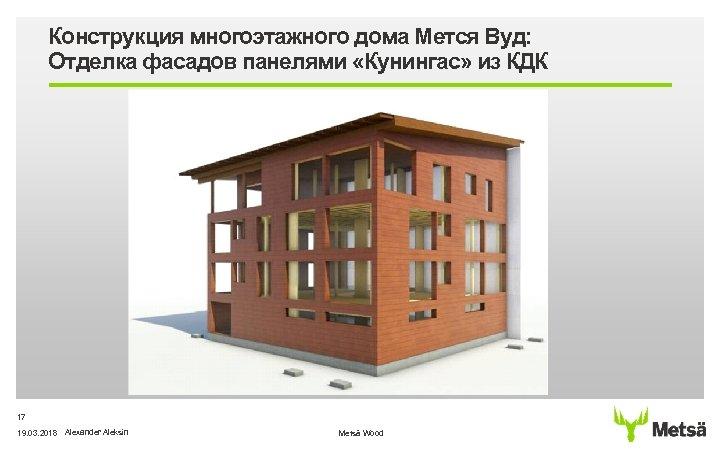 Конструкция многоэтажного дома Мется Вуд: Отделка фасадов панелями «Кунингас» из КДК 17 19. 03.