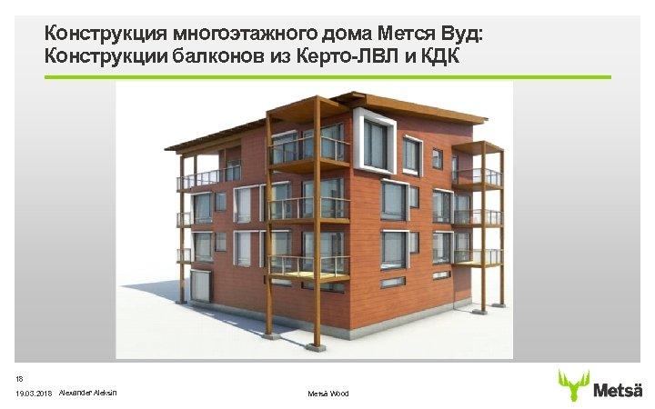 Конструкция многоэтажного дома Мется Вуд: Конструкции балконов из Керто-ЛВЛ и КДК 18 19. 03.