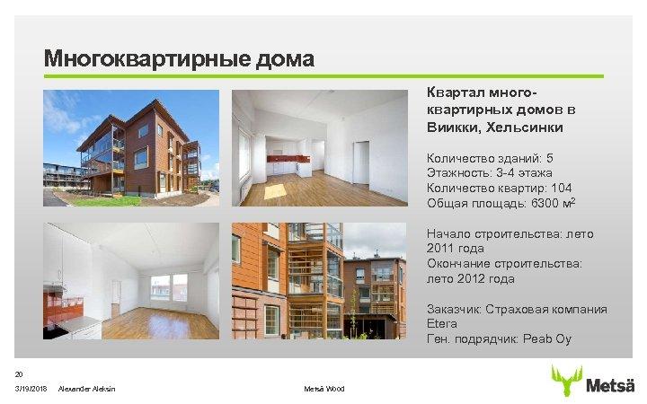 Многоквартирные дома Квартал многоквартирных домов в Виикки, Хельсинки Количество зданий: 5 Этажность: 3 -4