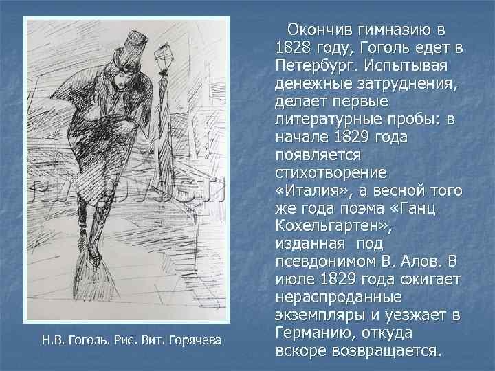 Н. В. Гоголь. Рис. Вит. Горячева Окончив гимназию в 1828 году, Гоголь едет в