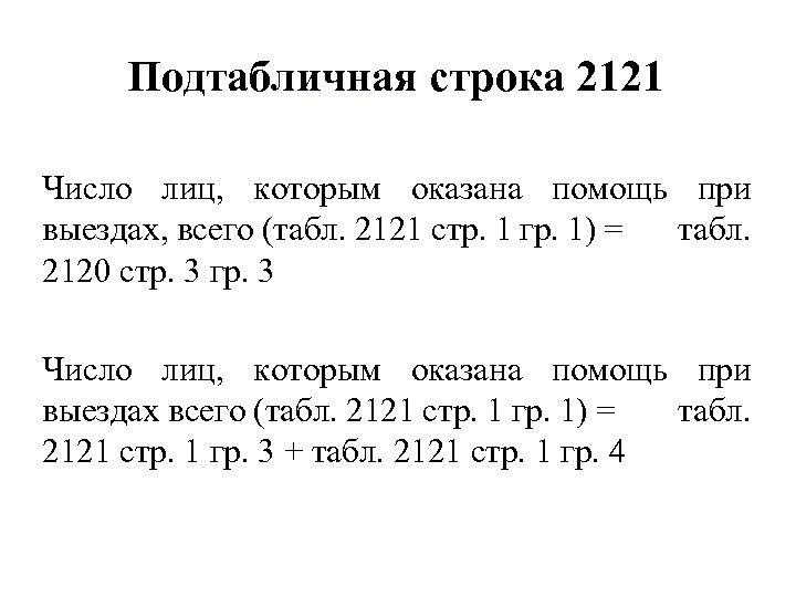 Подтабличная строка 2121 Число лиц, которым оказана помощь при выездах, всего (табл. 2121 стр.