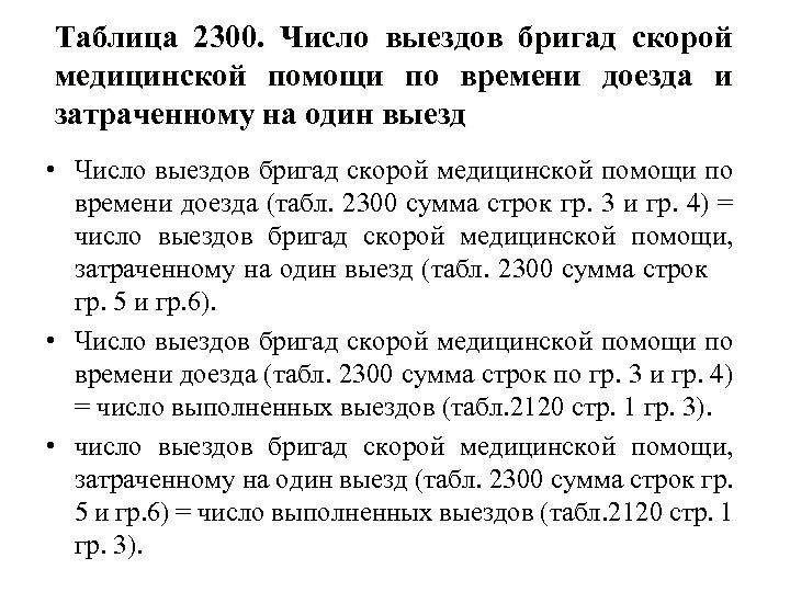Таблица 2300. Число выездов бригад скорой медицинской помощи по времени доезда и затраченному на
