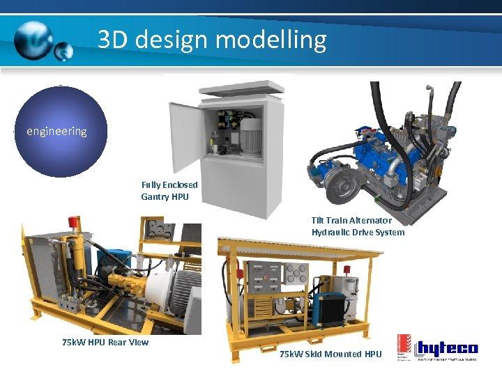 3 D design modelling engineering Fully Enclosed Gantry HPU Tilt Train Alternator Hydraulic Drive