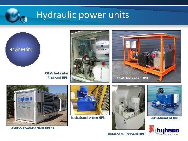 Hydraulic power units engineering 75 k. W In-Feeder Enclosed HPU 75 k. W In-Feeder