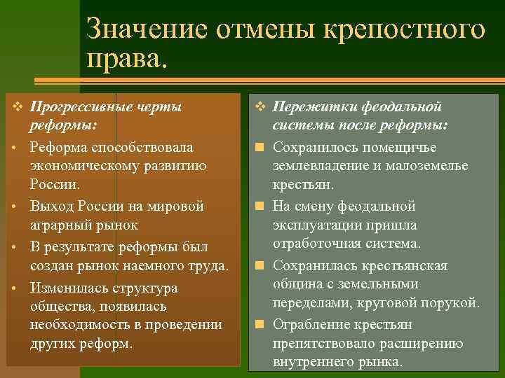 Значение отмены крепостного права. v Прогрессивные черты • • реформы: Реформа способствовала экономическому развитию