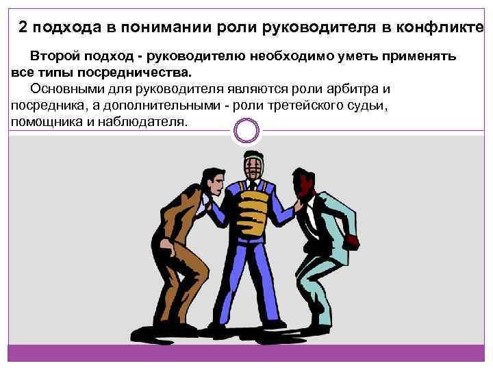 2 подхода в понимании роли руководителя в конфликте Второй подход - руководителю необходимо уметь