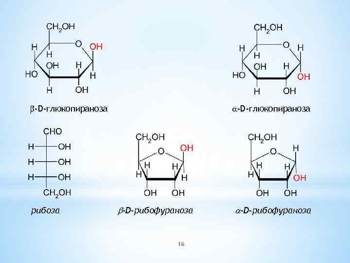 b-D-глюкопираноза рибоза a-D-глюкопираноза b-D-рибофураноза 16 a-D-рибофураноза