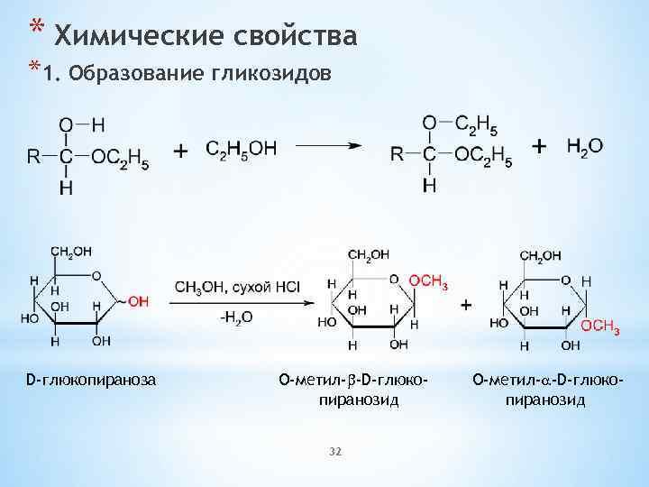* Химические свойства *1. Образование гликозидов D-глюкопираноза O-метил-b-D-глюкопиранозид 32 O-метил-a-D-глюкопиранозид