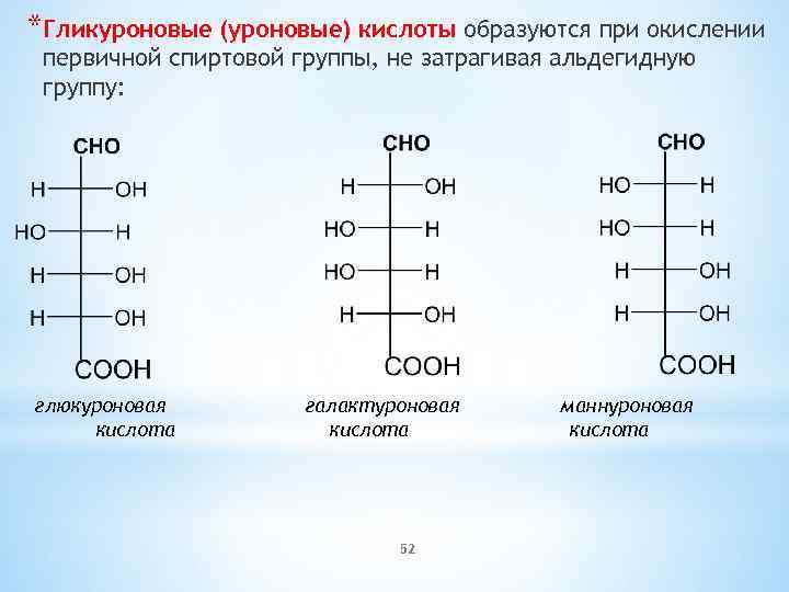 *Гликуроновые (уроновые) кислоты образуются при окислении первичной спиртовой группы, не затрагивая альдегидную группу: глюкуроновая